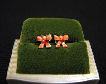 Vintage Small Orange and White Enameled Bow Pierced Earrings