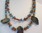 Turquoise Agate and Gold Coral Necklace, Resort Necklace, Beach Wedding, Fall Necklace,  Rustic Wedding, Free form Pendant,Country Wedding