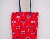 Union Jack London Lined Fabric Shopper with Leather Handles