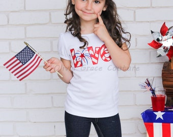 4th of July Girls shirt, Love, Independence Day, Personalized Custom Embroidered Shirt or bodysuit