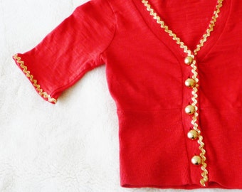 Girls Red Cardigan - Sweater - Gold Sparkle Zigzag - Gold Buttons - Holiday - Christmas - Upcycled - Epaulets - UNIQUE - Size 4 - All Cotton