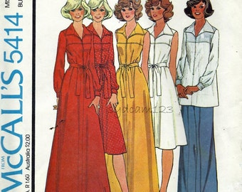 Vintage 1970s Dress or Tunic Pattern Wing Collar Knee or Maxi Length Sleeve Variations 1977 McCalls 5414 Bust 32.5