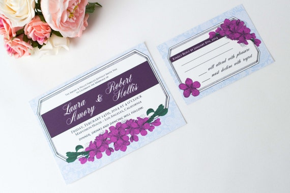 Blue Orchid Wedding Invitations: Radiant Orchid Wedding Invitation Floral Invitation Royal