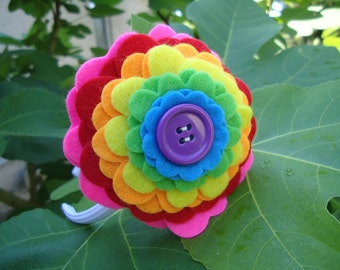 Pink Rainbow Felt Flower Headband - Perfect for School, Kids, Teens and Adults