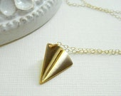 Paper Airplane Necklace In Gold One Direction Necklace Gold Minimalist Necklace Simple Jewelry, Gift For Her Under 25