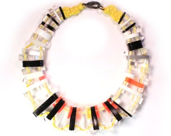 Future Ruff No.9 Reclaimed Acrylic Necklace Asyemetrical Clear Black Yellow Eco Sustainable Jewelry Upcycled Statement Collar