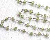 10 feet Faceted Peridot Gemstone Chain // Sterling Silver Chain // Green Stone Jewelry Chain