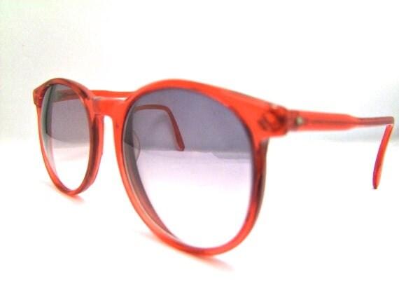 Vintage 1980s Red Frames // 80s Round Lens Glasses Frames