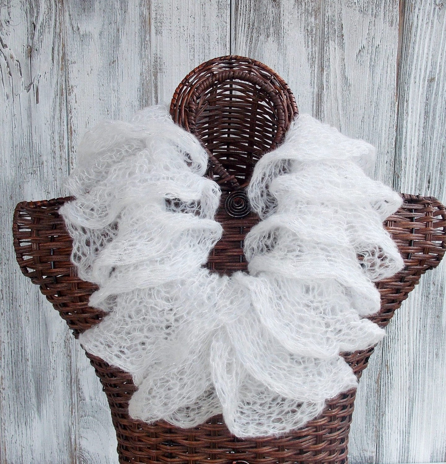 SALE Knitted ruffle cowl in white with silver metallic shimmer
