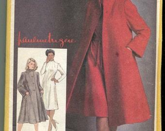 "Simplicity 9712 Vintage UNCUT Pauline Trigere Designer Dress and Lined Coat Pattern - 34"" Bust"