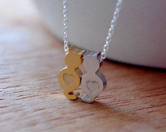 Cat Necklace, Two Cat Necklace, Gold Cat Necklace, Silver Cat Necklace, Love Heart Cat Necklace, Personalized Tiny Cat Necklace, Cat Lovers