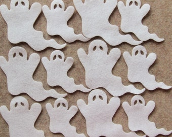 All White - Ghosts in Style 1 - 12 Die Cut Felt Shapes