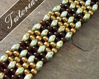 Beaded Bracelet Tutorial, RAW using Super Duos, Bead Pattern, Step by Step with Detailed Diagrams. Mojave