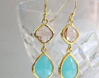 Mint Bridal Earrings Mint Peach Earrings Bridesmaid Favor Pink Champagne Wedding Jewelry Gold Teardrop Earrings Mint Dangle Earrings