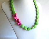 ON SALE, Butterfly Necklace, Pink and Green Turquoise Necklace, Statement Necklace, Chunky Necklace, Howlite Coin Necklace