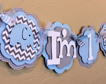 "Elephant Light Baby Blue Gray Chevron Stripe Polka Dot ""I'm 1"" High Chair Age Banner Boy Baby Shower Party Decorations Shabby Chic"