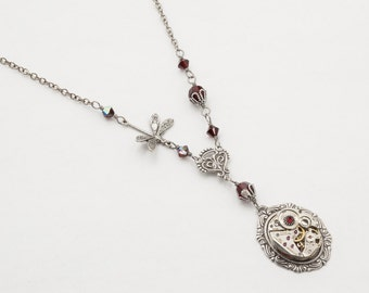 Steampunk Necklace, Dragonfly Necklace, Garnet Necklace with Vintage Watch Movement, Gears & Swarovski Crystal on Silver Chain Jewelry Gift