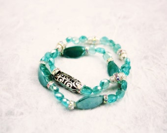Deep Mint Green Stretch Bead Bracelet