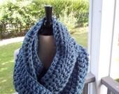 Cowl Neckwarmer Infinity Scarf Military Blue, Crochet Knit Fashion Scarf Cowl, Unisex Scarf, Scarf Cowl Circle Wrap Caplet Handmade byMalasa