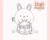Easter Bunny Chick Digital Stamp for Card Making, Paper Crafts, Scrapbooking, Hand Embroidery, Invitations, Stickers, Cookie Decorating
