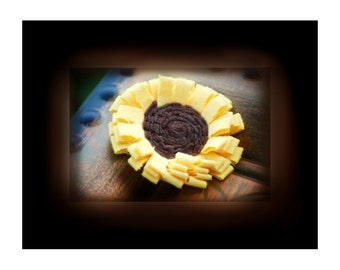 Sunflower Hair Clip, Brooch Pin, or Headband / Tiara. Handmade Yellow Brown Girasol Swirl. Spring Kid Infant. Wedding Dainty Fashion Hairbow