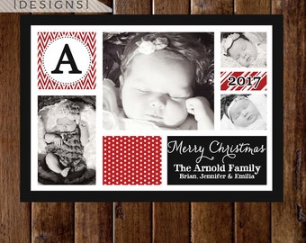 4 Photo Christmas Card, Photo Christmas Card, Christmas Photo Card, Photo Holiday Card, Holiday Photo Card, Monogram Christmas Card