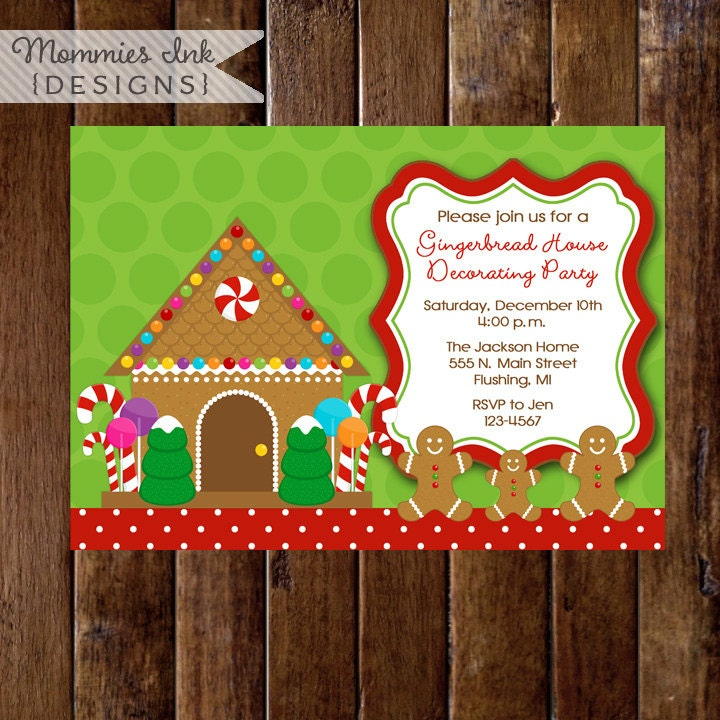 Gingerbread house decorating party or cookie exchange Gingerbread house decorating party invitations
