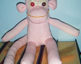 Pale Pink Sock Monkey