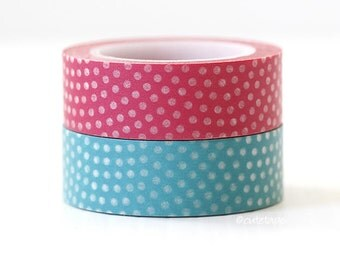 Chugoku Fan Dots Washi Tape Pink and Aqua Blue Pattern Pretty Tape