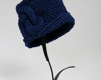 Handknitted Cloche Women Hat Cotton Color Royal Blue Art Deco Hat