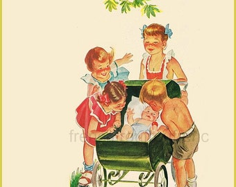 antique art deco illustration children and baby going for a walk DIGITAL