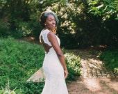 Open Keyhole Back Lace Wedding Dress - Monique Scarlet Style