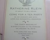 Tea Party Invitation, Vintage Bridal and Wedding Shower - Set of 10 w/Envelopes