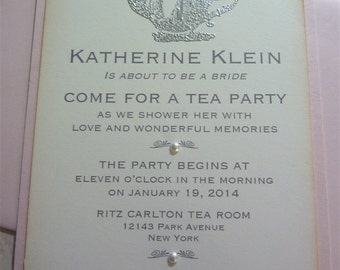 Tea Party Invitation, Vintage Bridal and Wedding Shower - Set of 10 w/Envelopes