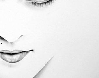 Madonna Pencil Drawing Fine Art Portrait Print Hand Signed