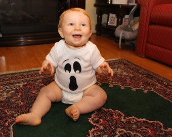 Silly Ghost - Screen Printed Ghost Face Onesie