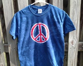 Peace Sign Shirt (Adult M), Mens Peace Sign Shirt, Ladies Peace Sign Shirt, Patriotic Peace Sign Shirt, Batik Peace Sign Shirt (Adult M)