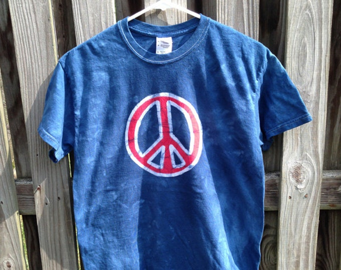 Peace Sign Shirt (Adult M), Mens Peace Sign Shirt, Ladies Peace Sign Shirt, Patriotic Peace Sign Shirt, Batik Peace Sign Shirt