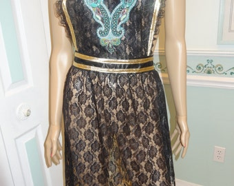 BLACK LACE  APRON: Sexy Elegant hostess apron,full apron, gold bias trim, beaded turquoise applique, wider waist ,long ties