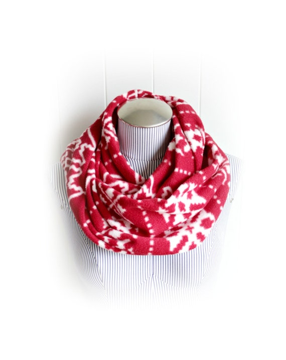 Fair Isle Infinity Scarf, Fleece Red and White Patterned Fleece