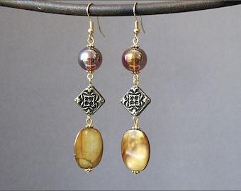 Golden Yellow Dangle Earrings Mother of Pearl Long