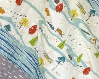 Baby Boy Quilt-Rustic Organic Birch Fabric-Feather River-Bear-Camping-Fish-Modern Patchwork Baby Blanket