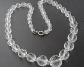 Graduated Crystal Bead, 1920's Crystal Necklace, Deco Era Necklace, Crystal Bead Necklace, Bridal Necklace, Wedding Necklace
