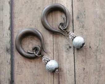 Ornate Pale Blue Shimmer Frosted Pearl Drop Dangle Gauges Spiral with Crystals &  Mixed Metals