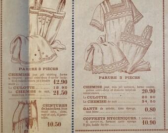 Antique French Shop Brochure Catalog 1910 1920s fashion underwear lingerie nightdresses white household linens - vintage store sale flyer