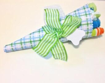 SALE It's A Boy! Boy Baby Bouquet with onesie, socks, washcloths