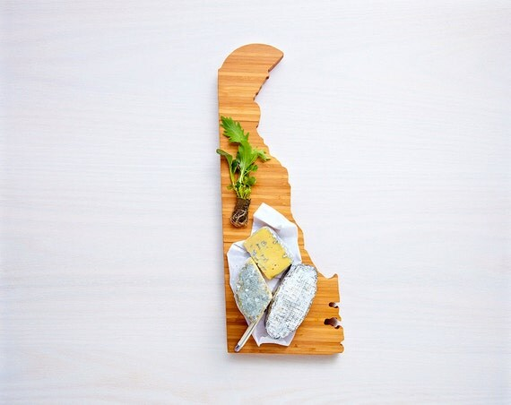 Delaware Cutting Board 4th of july Gift Personalized engraved Delaware cheese state shaped board