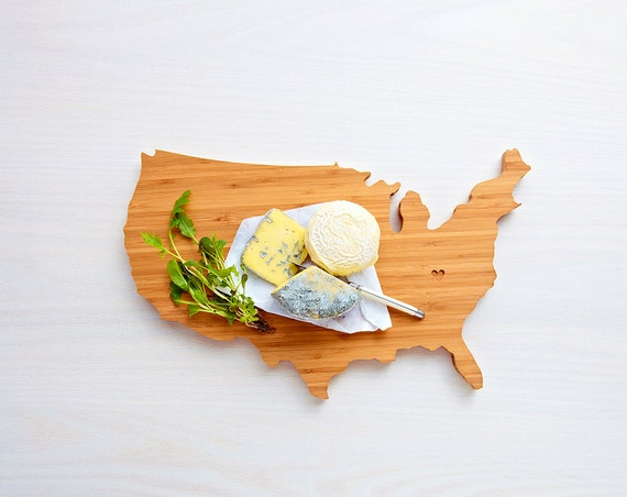 USA Cutting Board 4th of july Gift Personalized engraved USA cheese shaped board