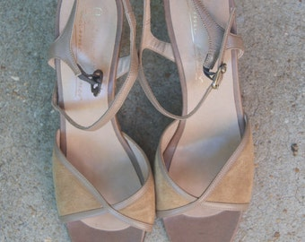 Vintage Taupe Open Toe Suede Ankle Straps Sandals 8N