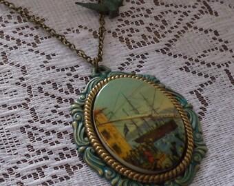 Gift SET Aqua Mint Cameo Ship Necklace with verdigris patina bird charm